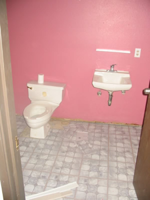 gotta love the pink bathroom (hey, it was free paint!)